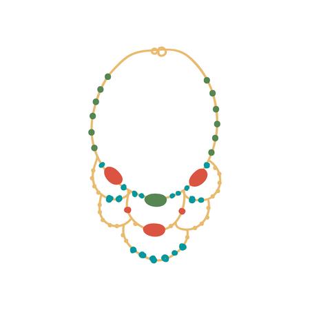 Collar de oro con piedras preciosas, accesorio de joyería de moda ilustración vectorial sobre fondo blanco.