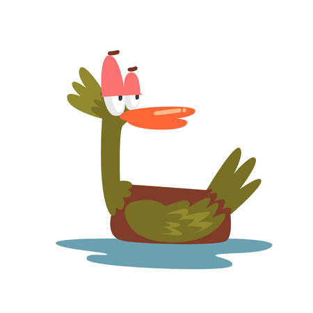 Important Self Confident Male Mallard Duck, Bird Cartoon Character Swimming in Water Vector Illustration Çizim