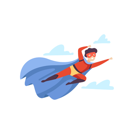 Boy Wearing Red Superhero Costume Flying in Sky, Cute Super Child Character in Mask and Blue Cape Vector Illustration
