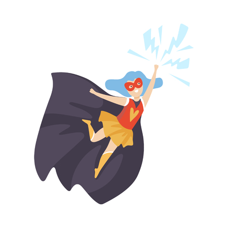 Girl Wearing Superhero Costume, Cute Super Child Character in Mask and Black Cape Vector Illustration