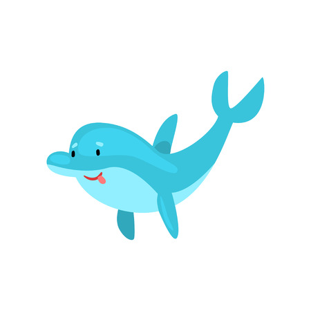 Cute Smiling Dolphin Cartoon Sea Animal Character Vector Illustration on White Background.