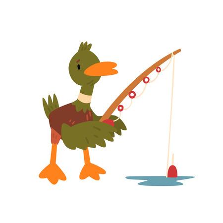 Male Mallard Duck Fishing with Fishing Rod, Cute Funny Duckling Cartoon Character Vector Illustration Фото со стока - 117813225