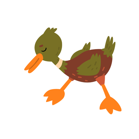 Cute Funny Male Mallard Duckling Cartoon Character Vector Illustration Illusztráció