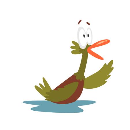 Surprised Open Eyed Male Mallard Duck Swimming, Funny Bird Cartoon Character Vector Illustration