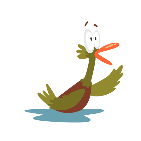 Surprised Open Eyed Male Mallard Duck Swimming, Funny Bird Cartoon Character Vector Illustration