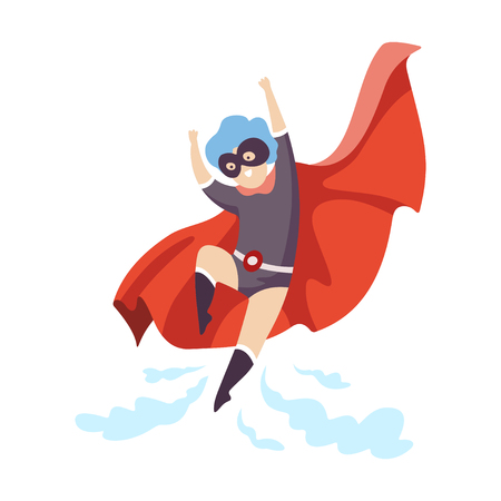 Cute Boy Wearing Superhero Costume Flying, Super Child Character in Mask and Red Cape Vector Illustration Illustration