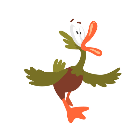 Scared Male Mallard Duck Screaming, Funny Bird Cartoon Character Vector Illustration