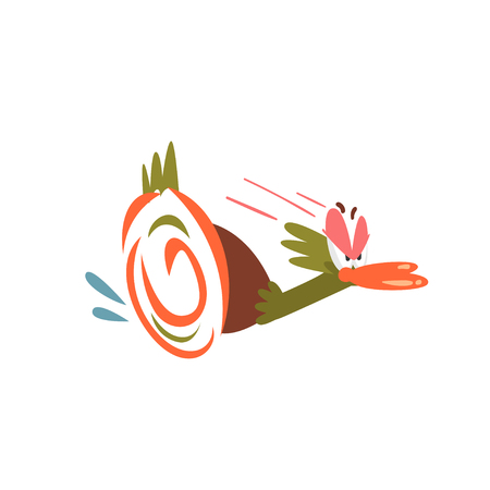 Frightened Male Mallard Duck Running Away, Funny Bird Cartoon Character Vector Illustration