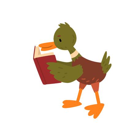 Cute Male Mallard Duck Reading Book, Funny Duckling Cartoon Character Vector Illustration