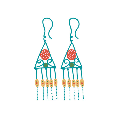 Metal Earrings, Boho Style Jewelry Accessories with Tassels Vector Illustration on White Background. Иллюстрация