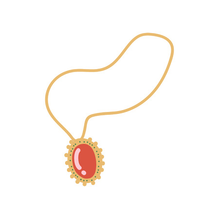 Gold Chain with Pendant, Fashion Jewelry Accessory with Red Gemstone Vector Illustration on White Background.