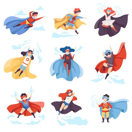 Enfants mignons portant des costumes de super-héros, personnages de super-enfants dans des masques et des capes dans une illustration vectorielle de pose différente Vecteurs