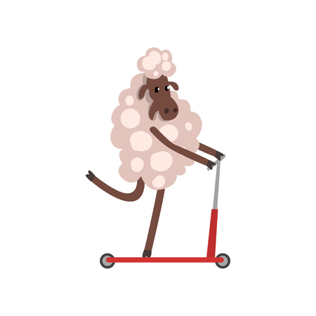 Furry Sheep Riding Kick Scooter, Adorable Animal Character Using Vehicle Vector Illustration on White Background.