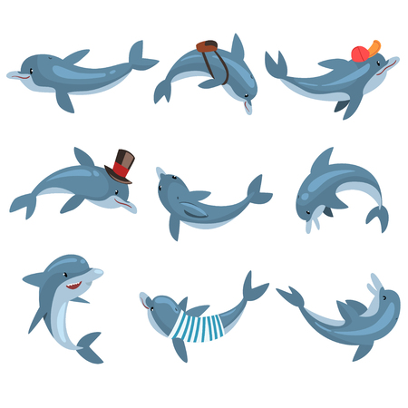 Cute Dolphins Set, Cartoon Sea Animal Characters In Different Pose Vector Illustration on White Background.  イラスト・ベクター素材