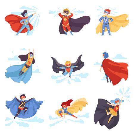 Bambini carini che indossano costumi da supereroi, personaggi di super bambini in maschere e mantelli Vector Illustration Vettoriali
