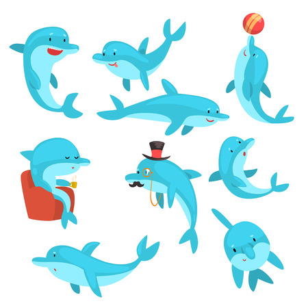 Cute Dolphins Set, Cartoon Sea Animal Characters Swimming, Jumping, Playing Vector Illustration on White Background.