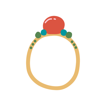 Golden Ring with Gemstones, Fashion Jewelry Accessory Vector Illustration on White Background.