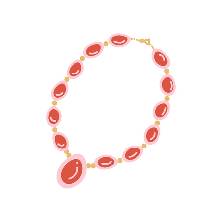 Red Beaded Necklace with Pendant, Fashion Jewelry Accessory with Gemstones Vector Illustration on White Background. Illustration