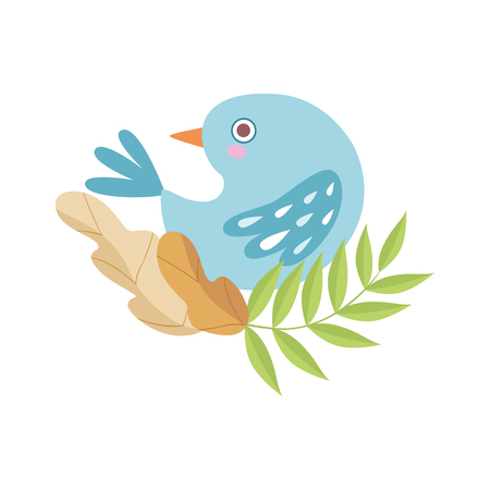 Cute Light Blue Bird Sitting on Branch of Tree, Symbol of Spring Vector Illustration on White Background.