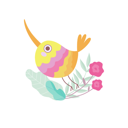 Cute Colorful Bird with Long Beak Sitting on Branch of Tree, Symbol of Spring Vector Illustration on White Background.
