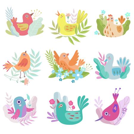 Insieme variopinto sveglio degli uccellini di nidificazione, simboli di illustrazione vettoriale di primavera Vettoriali