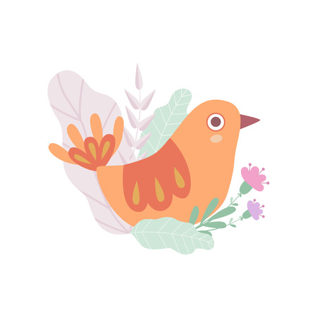 Cute Nesting Bird, Symbol of Spring Vector Illustration on White Background.