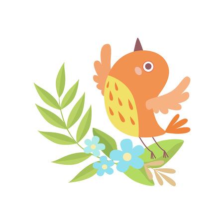 Cute Little Orange Nesting Bird, Symbol of Spring Vector Illustration on White Background.