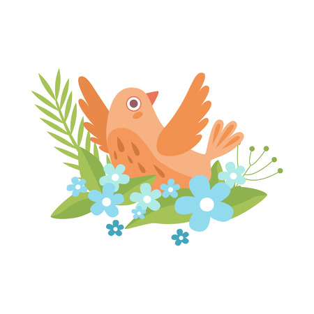 Cute Little Orange Bird Flapping Wings, Symbol of Spring Vector Illustration on White Background. Çizim