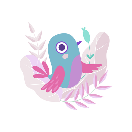 Cute Little Adorable Colorful Bird, Symbol of Spring Vector Illustration on White Background.