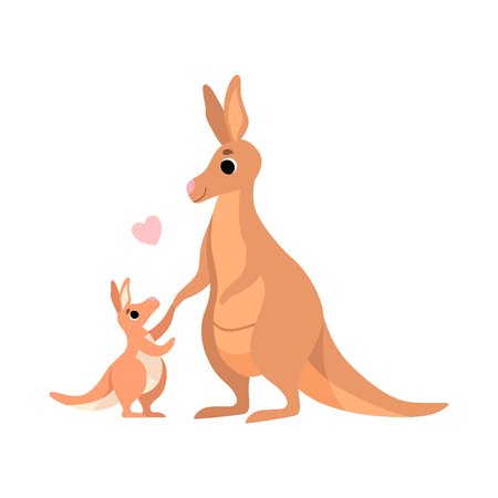 Mother Kangaroo with Its Baby, Cute Animal Family Vector Illustration on White Background.