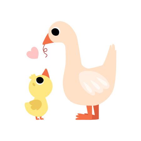 Mother Goose Feeding her Gosling, Cute Farm Birds Family Vector Illustration on White Background. Vector Illustration on White Background.