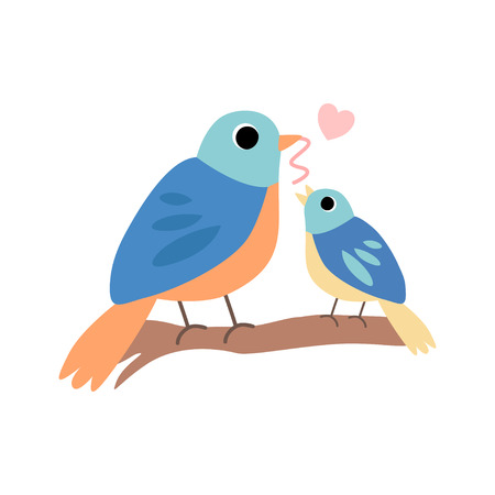Mother Bird Feeding Her Chick, Cute Forest Birds Family Vector Illustration on White Background. Vector Illustration on White Background. Çizim