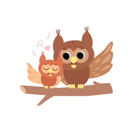 Mother Owl with Its Owlet, Cute Forest Birds Family Vector Illustration on White Background. Vector Illustration on White Background. Ilustração