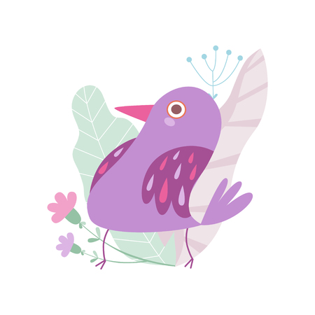 Cute Little Violet Bird, Symbol of Spring Vector Illustration on White Background.