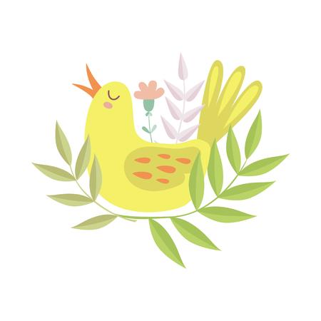 Cute Singing Yellow Bird, Symbol of Spring Vector Illustration on White Background. Çizim