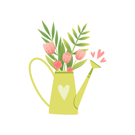Bouquet of Pink Tulips In Vase in Form of Watering Can, Hello Spring Floral Design Template Vector Illustration on White Background. Ilustracje wektorowe