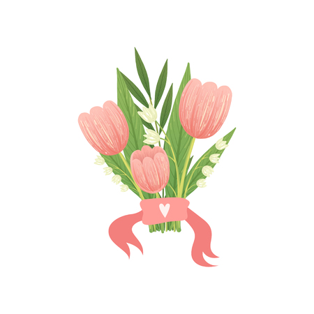 Bouquet of Pink Tulip Flowers, Hello Spring Floral Design Template Vector Illustration on White Background.