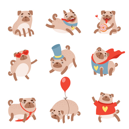 Funny Pug Dog Set, Cute Pet Animal Character in Different situations Vector Illustration  イラスト・ベクター素材