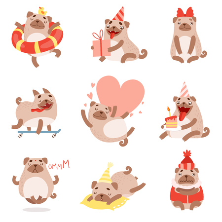Cute Funny Pug Dog, Adorable Beige Pet Animal Character in Different Situations Set Vector Illustration