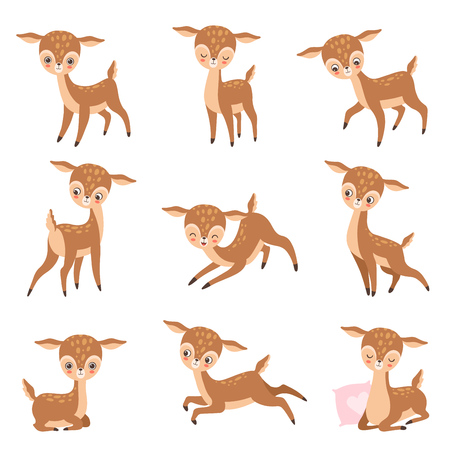 Cute Baby Deer, Adorable Brown Forest Animal Set Vector Illustration on White Background.