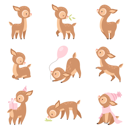 Cute Baby Deer, Adorable Brown Forest Animal in Different Situations Set Vector Illustration on White Background.