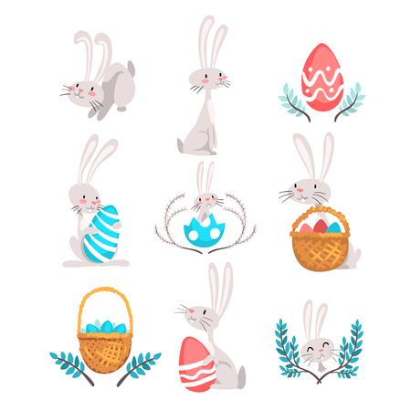 Collection of Cute Bunnies and Eggs, Happy Easter, Adorable Gray Funny Animals Vector Illustration on White Background.