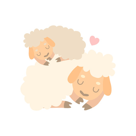 Mother Sheep and Baby Lamb, Cute Animal Family Vector Illustration on White Background.  イラスト・ベクター素材