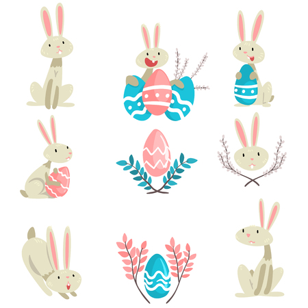 Collection of Cute Bunnies and Colorful Eggs, Happy Easter, Adorable Funny Animals Vector Illustration on White Background.
