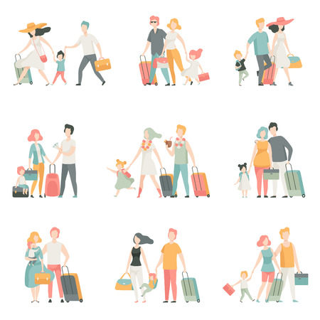 Family travel Set, Father, Mother and Kids Characters Travelling Together, Happy family Vector Illustration on White Background. Stock Illustratie