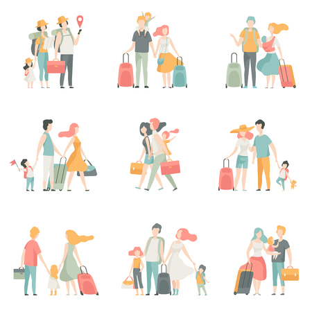 Family travel Set, Father, Mother and Kids Characters Travelling Together Vector Illustration on White Background.