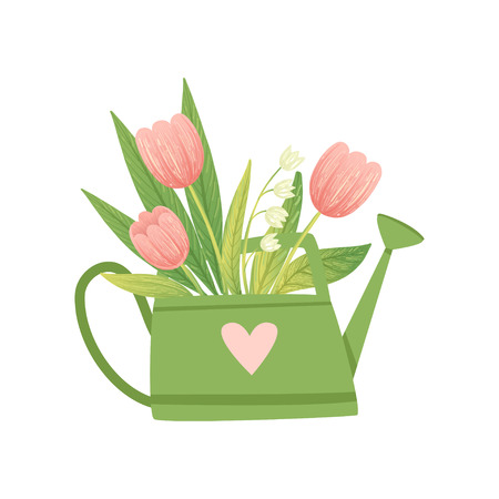 Bouquet of Tulips in Green Watering Can, Hello Spring Floral Design Template Vector Illustration on White Background.