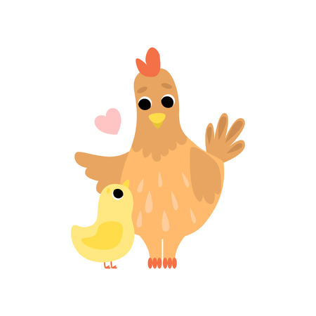 Hen Mother and Its hicken, Cute Farm Birds Family Vector Illustration on White Background. Vector Illustration on White Background.  イラスト・ベクター素材
