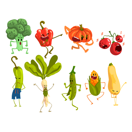 Cute artoon Vegetables Set, Food Characters with Funny Faces Vector Illustration on White Background. Çizim