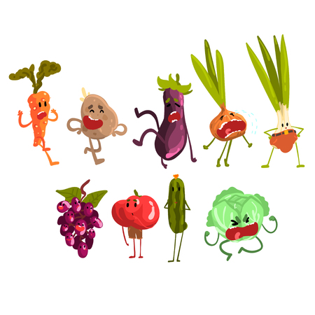 Cute artoon Fruit and Vegetables Set, Eco Food Characters with Funny Faces Vector Illustration on White Background.